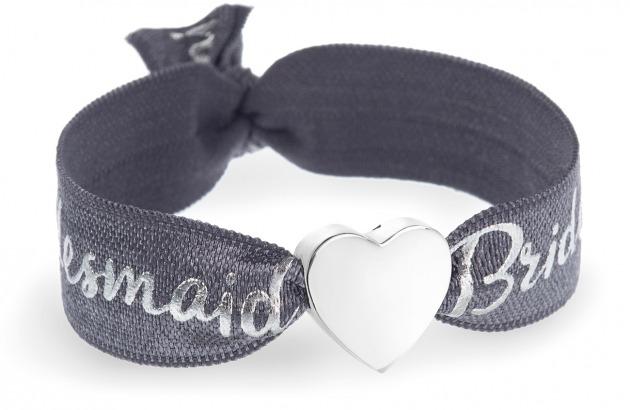 bridesmaid grey bracelet with silver heart bead