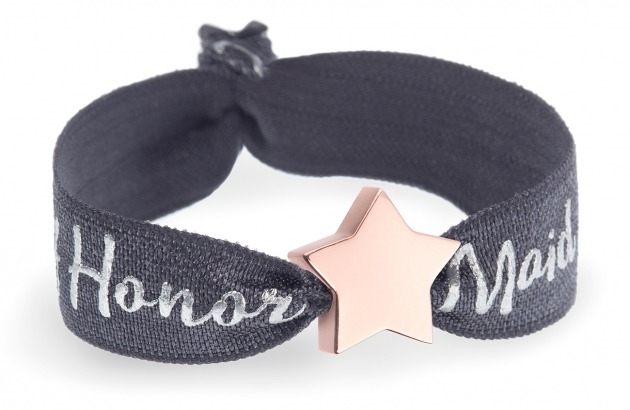 personalised maid of honour charcoal grey bracelet with rose gold star bead