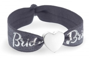 personalised bride grey & silver bracelet with silver heart bead