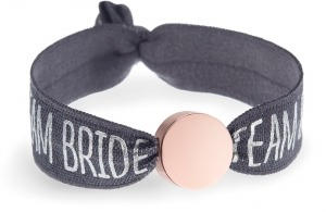 personalised team bride grey bracelet with rose gold circle bead