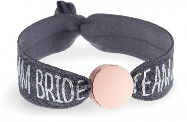 team bride grey bracelet with rose gold circle bead