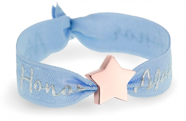 personalised maid of honor blue bracelet with rose gold star bead