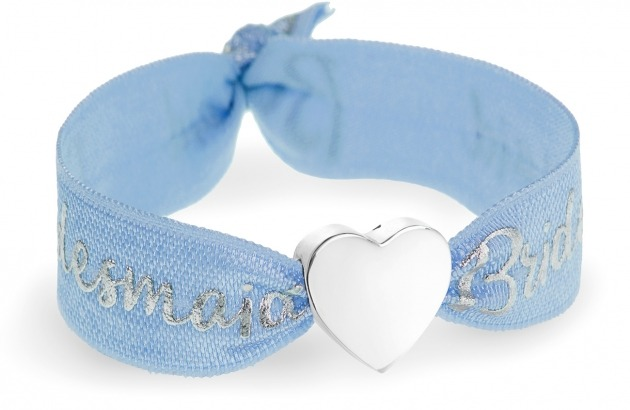 bridesmaid blue bracelet with silver heart bead
