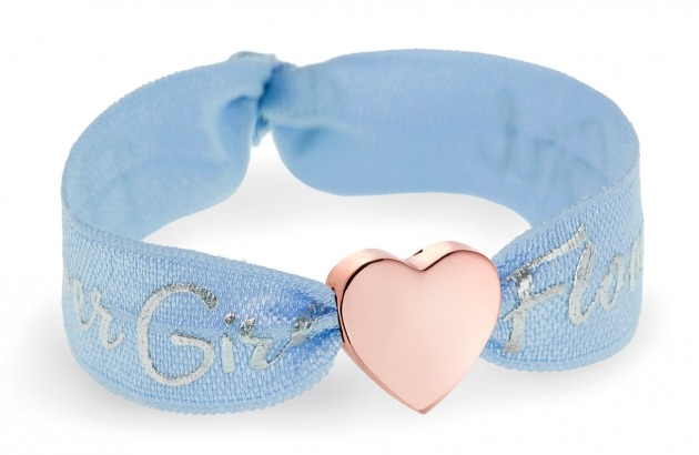 personalised girls flower girl soft blue bracelet with rose gold heart bead