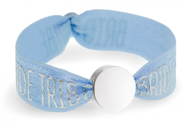 personalised bride tribe blue bracelet with silver circle bead