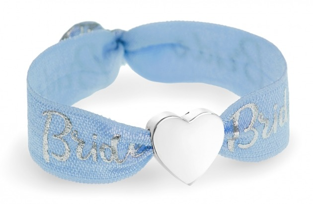 bride blue & silver bracelet with silver heart bead