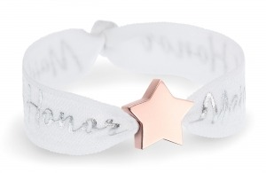 personalised maid of honor white bracelet with rose gold star bead