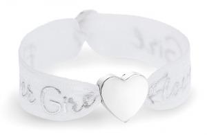 girls flower girl white bracelet with silver heart bead