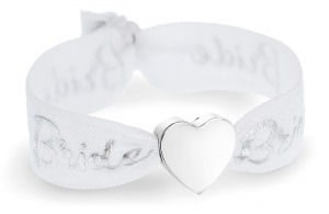 bride white & silver with silver heart bead