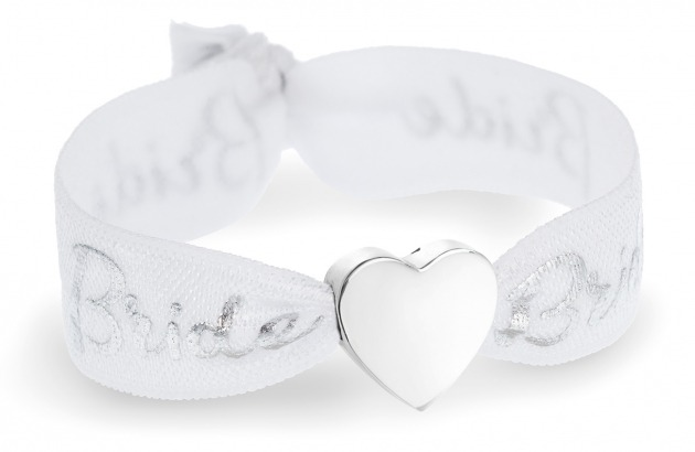 personalised bride white & silver bracelet with silver heart bead