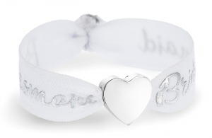 personalised bridesmaid white and silver bracelet with silver heart bead