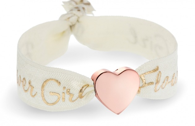 kids flower girl ivory bracelet with personalised rose gold heart bead