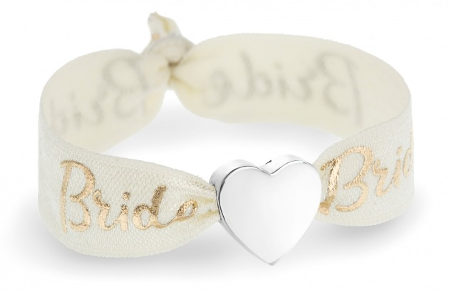 personalised Bride ivory & gold bracelet with silver heart bead