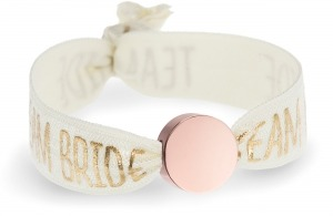 personalised team bride ivory bracelet with rose gold circle bead