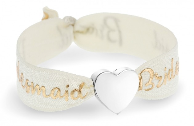 bridesmaid ivory bracelet with silver heart bead