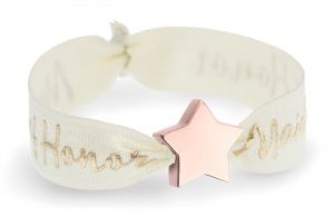 maid of honor ivory bracelet with rose gold star bead