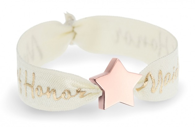 personalised maid of honor ivory bracelet with rose gold star bead