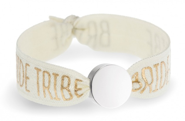 personalised bride tribe ivory bracelet with silver circle bead