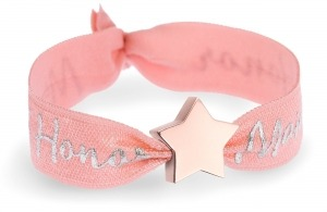 personalised maid of honor coral bracelet with rose gold star bead