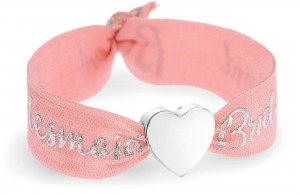 personalised bridesmaid coral & silver bracelet with silver heart bead