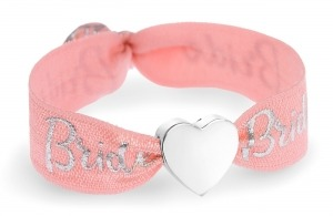 personalised Bride coral & silver bracelet with silver heart bead
