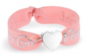 personalised girls flower girl coral bracelet with silver bead