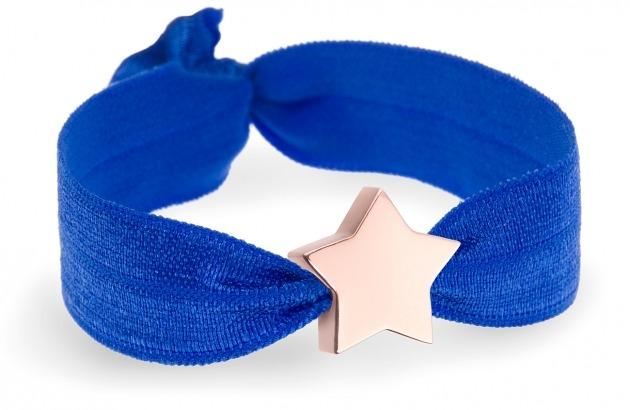 cobalt blue bracelet with rose gold star bead