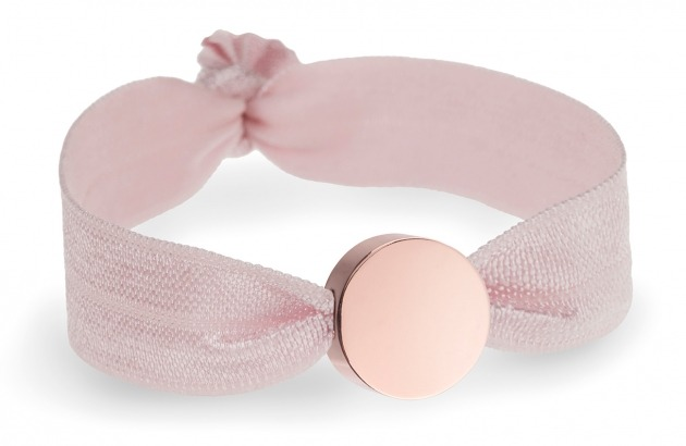 baby pink bracelet with rose gold circle bead