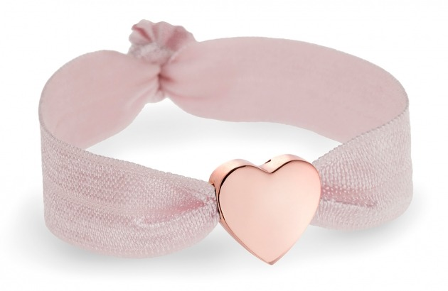 personalised girls tea rose pink bracelet with rose gold heart bead