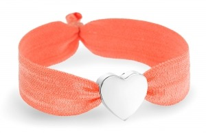 Neon orange bracelet with silver heart bead