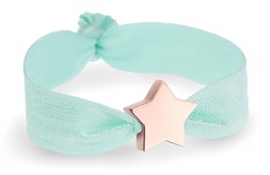 girls soft mint bracelet with personalised rose gold star bead
