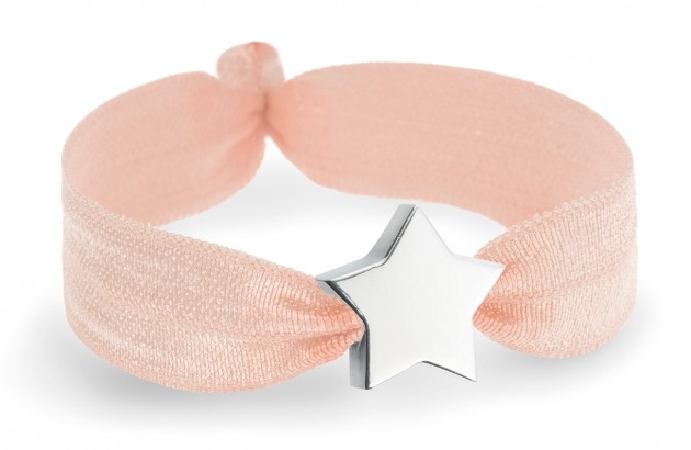 personalised girls soft peach bracelet with silver star bead