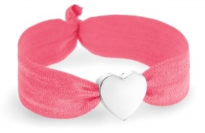 girls coral bracelet with silver heart bead