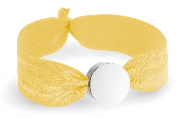 girls yellow bracelet with silver circle bead