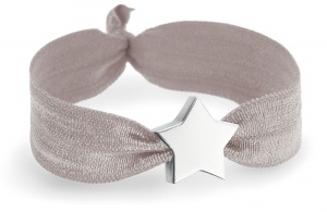 grey stretch personalised bracelet with silver star