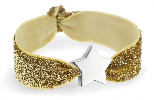 Gold glitter bracelet with silver star bead