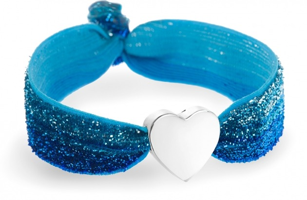 Personalised ombre blue glitter bracelet with silver heart bead