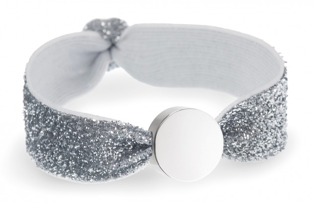silver glitter bracelet with silver circle bead