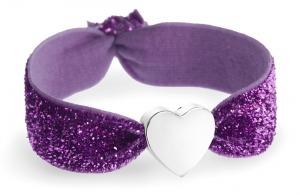 Personalised purple glitter bracelet with silver heart bead