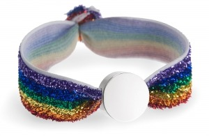Personalised rainbow glitter bracelet with silver circle bead