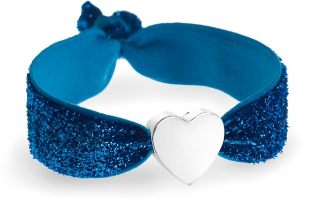 personalised girls turquoise glitter bracelet with silver heart bead