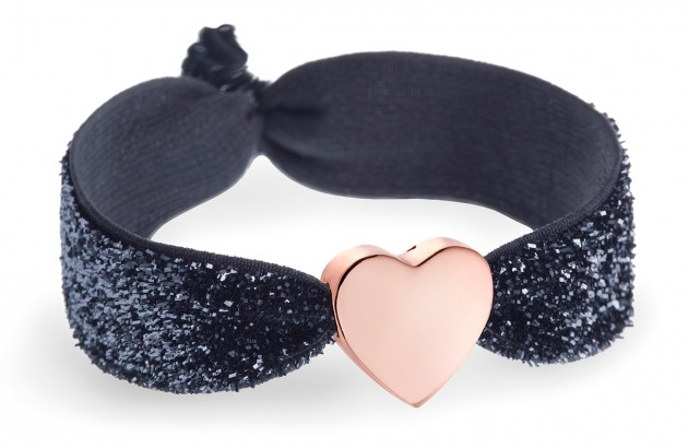 personalised charcoal glitter bracelet with rose gold heart bead