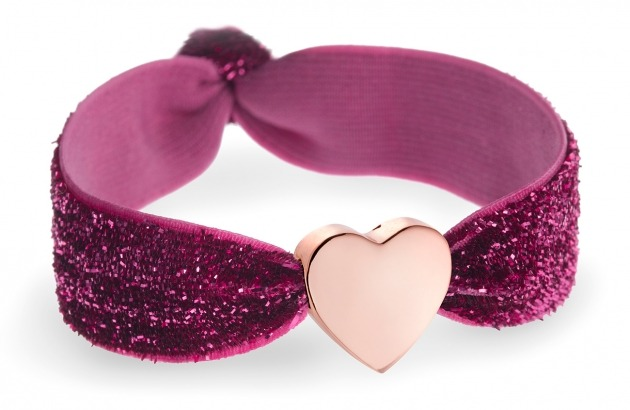 Personalised pink glitter bracelet with rose gold heart bead