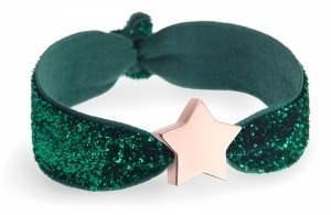 personalised emerald glitter bracelet with rose gold star bead