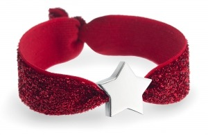 personalised ruby red glitter bracelet with silver star bead