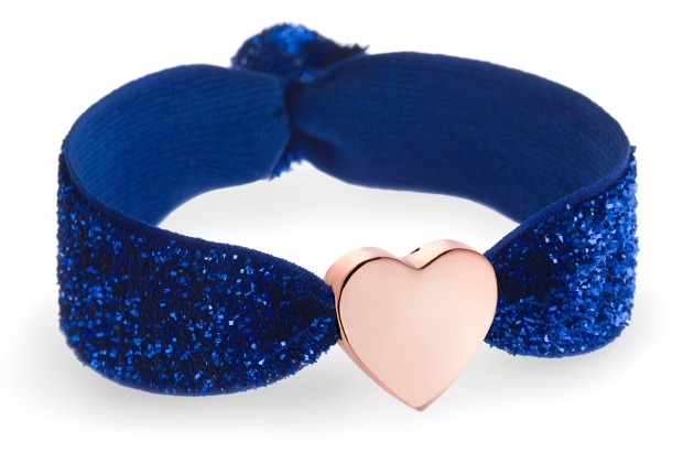personalised sapphire glitter bracelet with rose gold heart bead