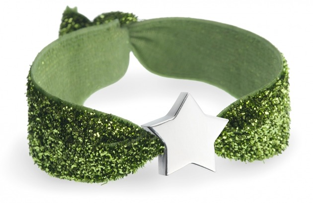 Personalised olive green glitter bracelet with silver star bead