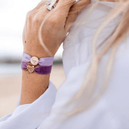 Personalised vintage lilac velvet bracelet