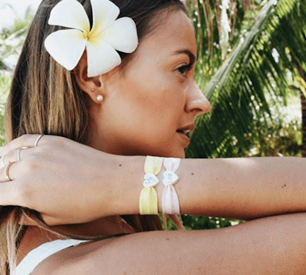 personalised soft pink stretch bracelet