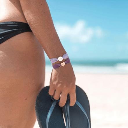 personalised lavender stretch bead bracelet